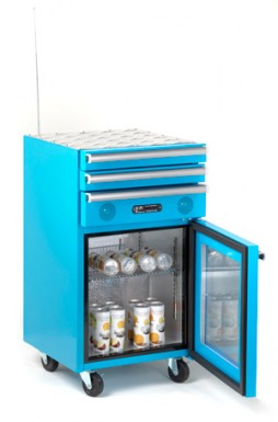 blue fridge with complete MP3 Stereo